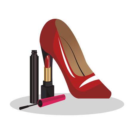 tacones rojos: red heels and make up products over white background. fashion and style concept. colorful design. vector illustration Vectores