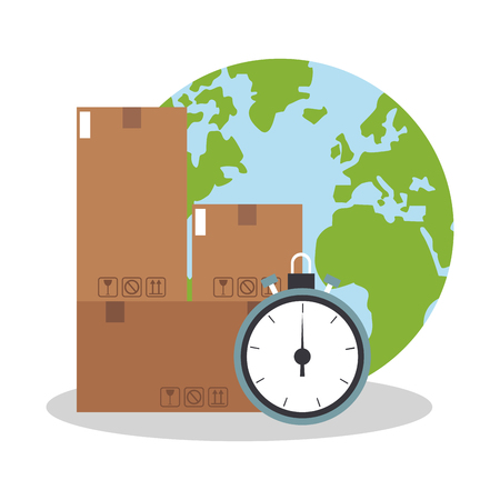 commerce and industry: earth planet, carton box and chronometer icon over white background. delivery logistics concept. colorful design. vector illustration