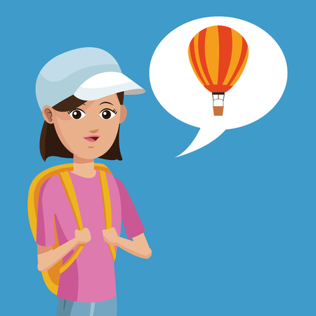 young girl: young girl rucksack travel airballoon vector illustration Illustration