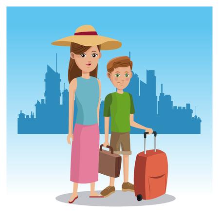 mother and son tourist baggage hat traveler urban background vector illustration eps 10 Illustration