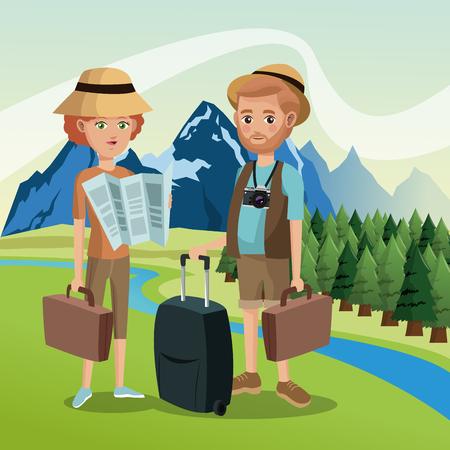 couple hiking: couple tourists traveler suitcases luggage map camera landscape background vector illustration eps 10