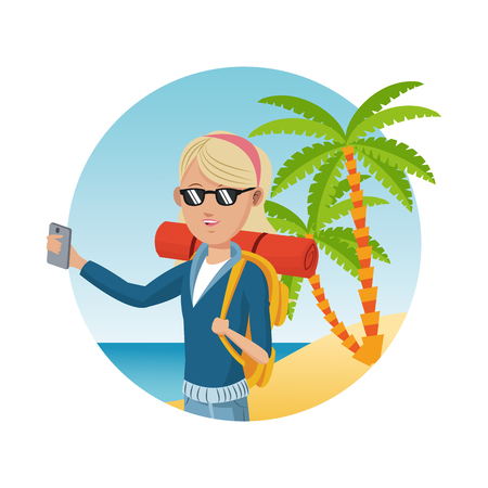 young blonde girl with backpack smartphone sunglasses palm sand beach vector illustration eps 10
