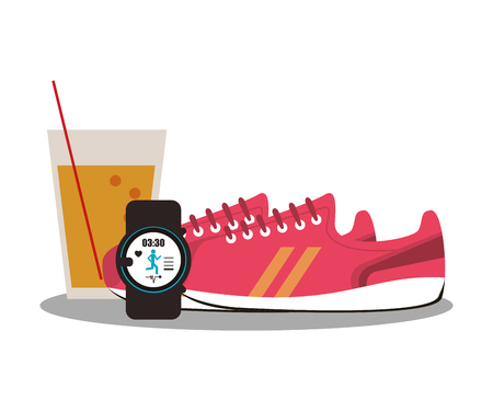 watch glass: orange juice glass, sport watch and shoes over white background. healthy lifestyle concept. colorful design. vector illustration Illustration