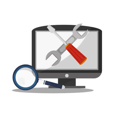 computer repair: monitor computer with repair tools icon on screen over white background. technical service concept. colorful design. vector illustration