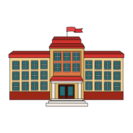 institute: school building icon over white background. colorful design. vector illustration