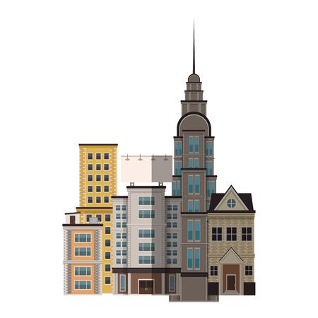 city buildings and Skyscraper icon over white background. colorful design. vector illustration Illustration