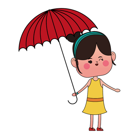 kawaii girl with umbrella over white background. colorful design. vector illustration