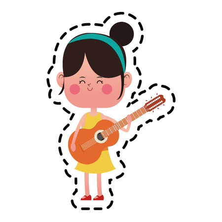 kawaii girl with guitar  over white background. colorful design. vector illustration Illustration