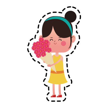 kawaii girl with a flowers bouquet over white background. colorful design. vector illustration