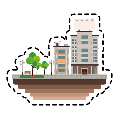 urban city with buildings over white background. colorful design. vector illustration