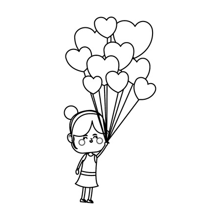 kawaii girl with heart balloon over white background. vector illustration Illustration