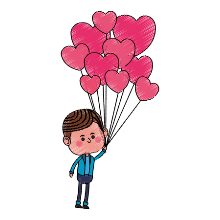 kawaii boy with heart balloon over white background. colorful design. vector illustration