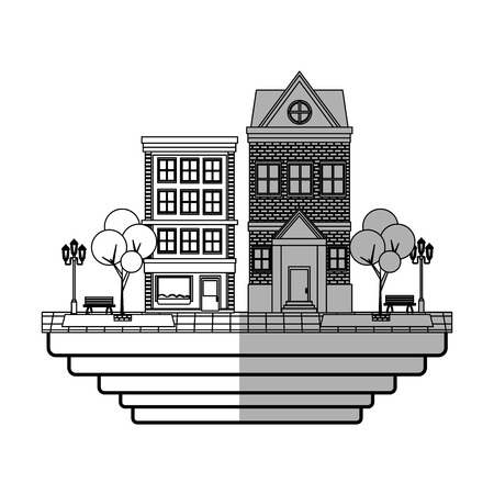 urban city with buildings over white background. vector illustration