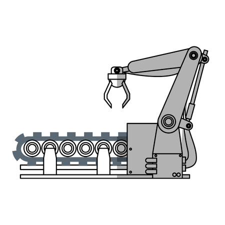 cybernetics: robotic arm, industrial  machine  over white background. vector illustration Illustration