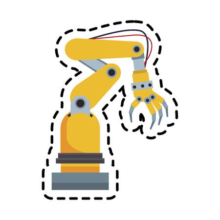 cybernetics: robotic arm, industrial  machine  over white background. colorful design. vector illustration Illustration