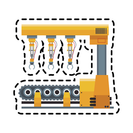 cybernetics: industrial robot machine icon over white background. colorful design. vector illustration