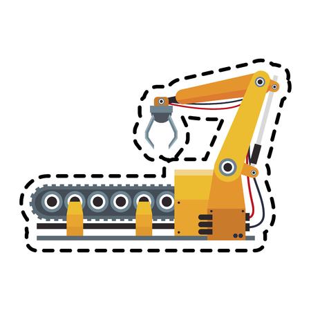 industrial machine: robotic arm, industrial  machine  over white background. colorful design. vector illustration Illustration