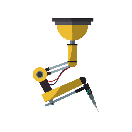 industry electronic: industrial robot machine icon over white background. colorful design. vector illustration