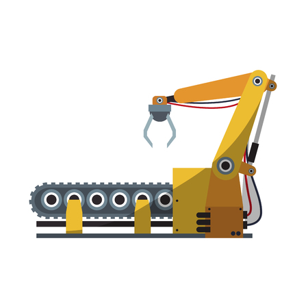 cybernetics: robotic hand icon, industrial machine over white background. colorful design. vector illustration