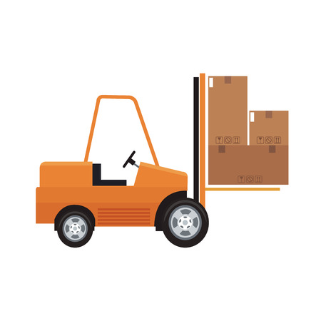 forklift truck with carton boxes over white background. colorful design. vector illustration