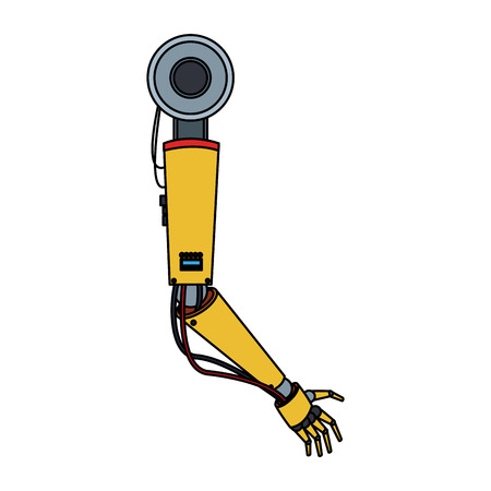 cybernetics: robotic arm, industrial machine over white background. vector illustration
