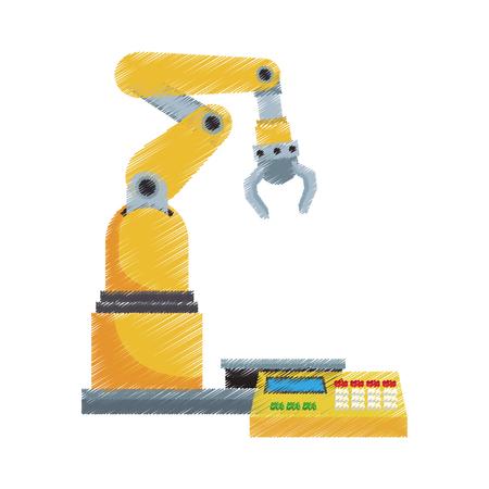 brazo robótico, máquina industrial sobre fondo blanco. diseño colorido. ilustración vectorial
