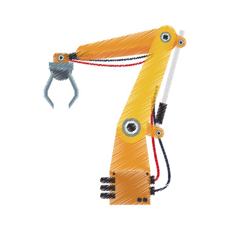 cybernetics: robotic arm, industrial machine over white background. colorful design. vector illustration