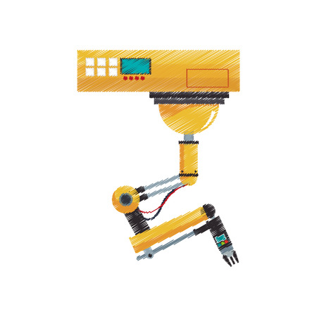 industrial robot machine icon over white background. vector illustration Illustration