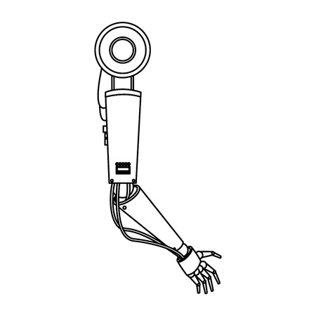 robotic arm, industrial robot machine icon over white background. vector illustration Vektorové ilustrace