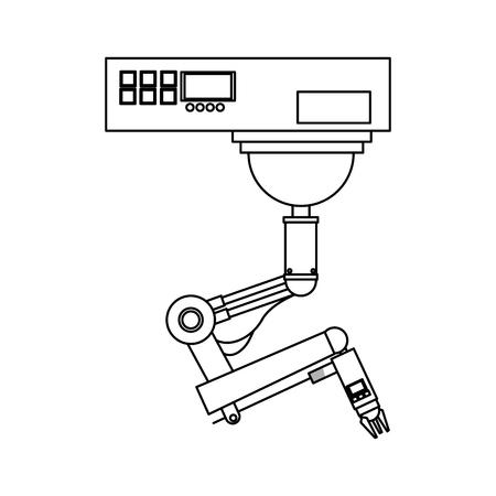 cybernetics: industrial robot machine icon over white background. vector illustration Illustration