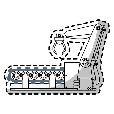 cybernetics: robotic arm, industrial robot machine icon over white background. vector illustration Illustration