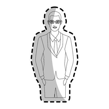 financial item: businessman wearing executives clothes over white background. vector illustration Illustration