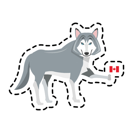 wolf cartoon with flag of canada icon over white background. colorful design. vector illustration Illustration