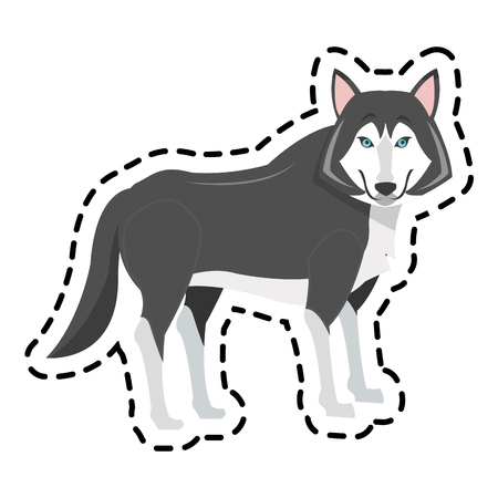 wolf cartoon icon over white background. colorful design. vector illustration Illustration