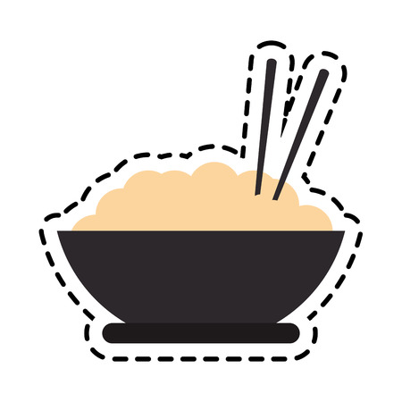 noodle bowl icon over white background. fast food concept. colorful design. vector illustration