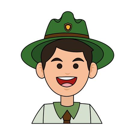 Happy Forest Ranger-Symbol auf weißem Hintergrund. bunte Design. Vektor-Illustration