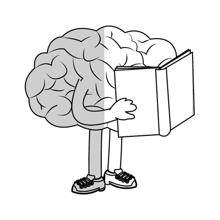 human brain holding a book over white background. vector illustration