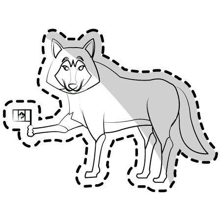 lupus: wolf cartoon icon over white background. vector illustration