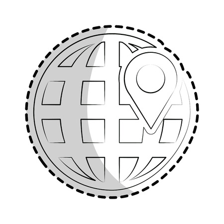 global sphere with location pin over white background. vector illustration