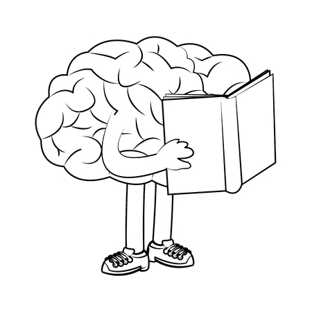 human brain with book over white background. vector illustration