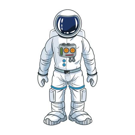 Astronaut spaceman cosmonaut space cartoon icon. Colorful design. Vector illustration Vectores
