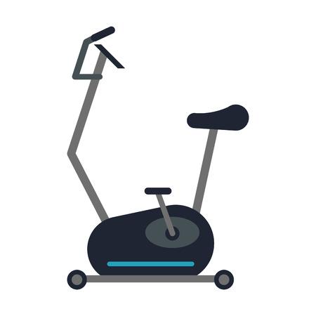 static bike: spinning bike gym equipment over white background. colorful design. vector illustration Illustration