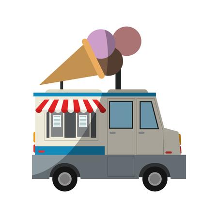 sorbet: ice cream car icon over white background. colorful design. vector illustration