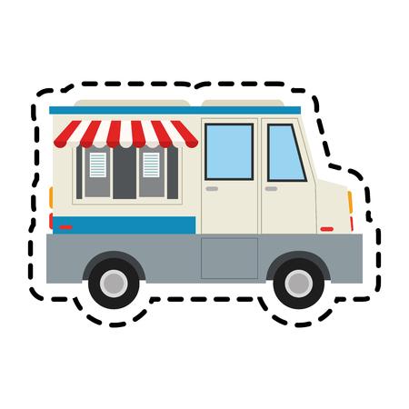 frozen treat: ice cream car icon over white background. colorful design. vector illustration