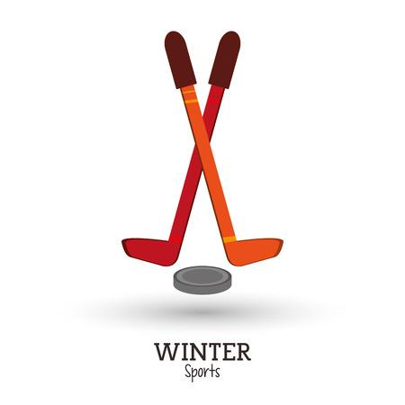 puck: winter sport hockey sticks puck design vector illustration