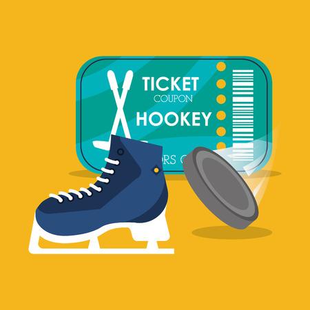 puck: set hockey skate puck and ticket vector illustration Illustration