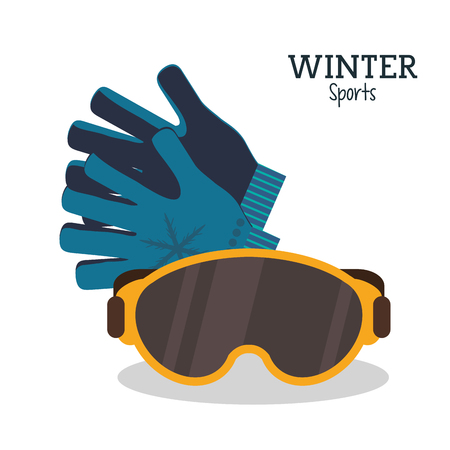 ski wear: winter sport glasses and gloves protection vector illustration Illustration
