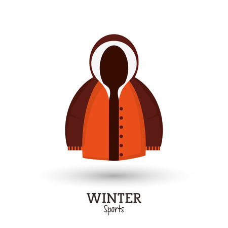 warm things: winter sport brown and orange jacket clothes vector illustration
