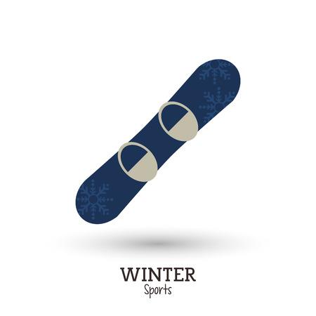 snowboard: winter sport blue snowboard with snowflakes decoration vector illustration Illustration