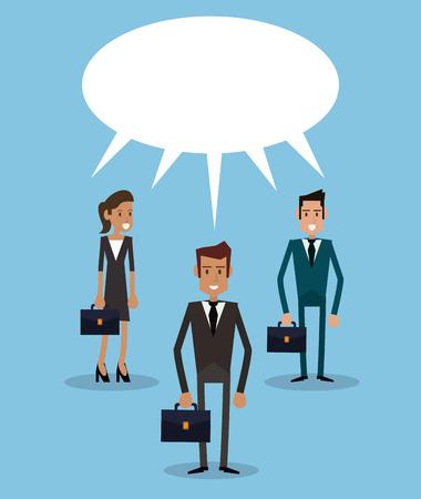 conversing: teamwork business persons bubble speech dialog vector illustration